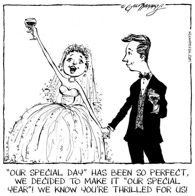 """Cartoon - """"OUR SPECIAL DAY"""" HAS BEEN SO PERFECT WE DECIDED TO MAKE IT """"oUR SPECIAL 4EAR""""! WE KNOW 4OU'RE THRILLED FOR US! NICKANDZUZU.cOM"""