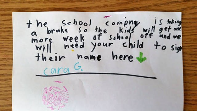 Text - Compn IS tking School t he a brake So the kids will get on off and we more week of schild to sig willneed your their name here ara G.