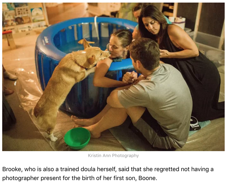 Photo caption - Kristin Ann Photography Brooke, who is also a trained doula herself, said that she regretted not having a photographer present for the birth of her first son, Boone.