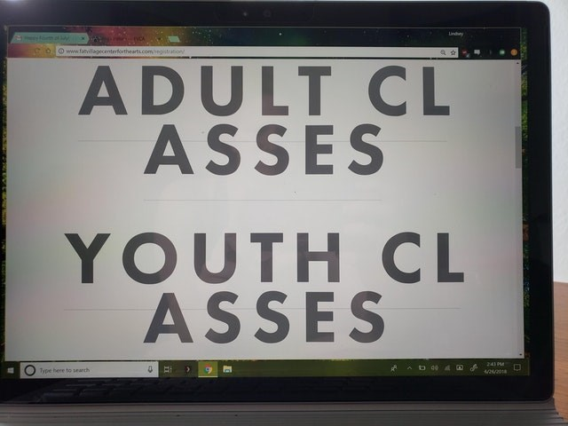 Font - Lndhey fom y O www.fanvillagecenterforthearts.comegstration ADULT CL ASSES YOUTH CL ASSES 241 MM Type here to search 42/2018