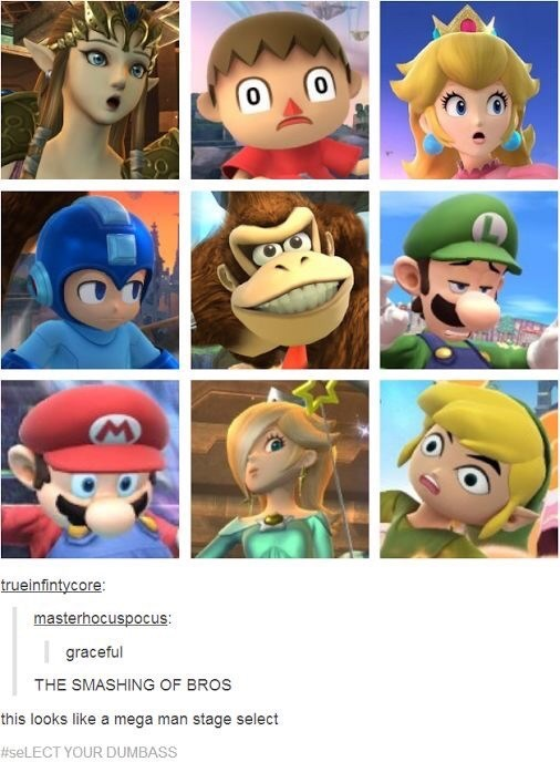 Animated cartoon - trueinfintycore: masterhocuspocus: graceful THE SMASHING OF BROS this looks like a mega man stage select #seLECT YOUR DUMBASS