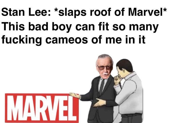 Text - Stan Lee: *slaps roof of Marvel* This bad boy can fit so many fucking cameos of me in it MARVEL