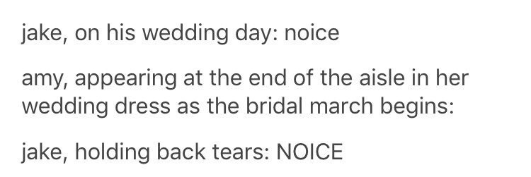 Text - jake, on his wedding day: noice amy, appearing at the end of the aisle in her wedding dress as the bridal march begins: jake, holding back tears: NOICE