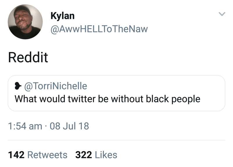 Text - Kylan @AwwHElToTheNaw Reddit @TorriNichelle What would twitter be without black people 1:54 am 08 Jul 18 142 Retweets 322 Likes