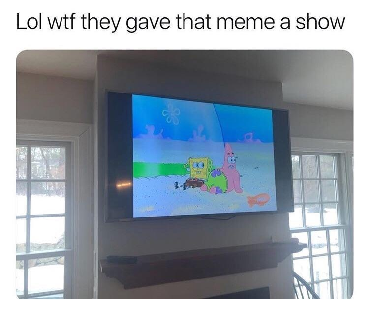 "Picture of Spongebob on TV with the caption, ""Lol WTF they gave that meme a show"""