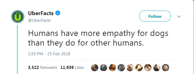 Text - UberFacts Follow @UberFacts Humans have more empathy for dogs than they do for other humans. 1:59 PM - 25 Feb 2018 3,522 Retweets 11,639 Likes