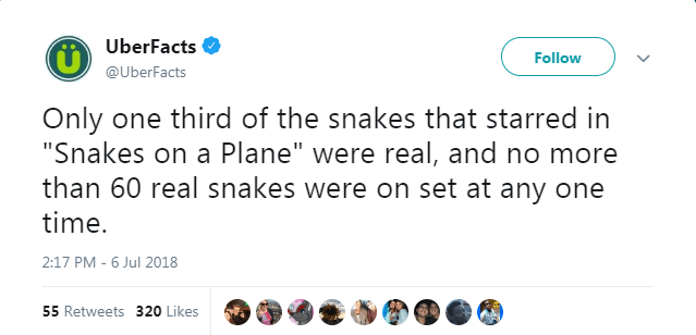 """Text - UberFacts Follow @UberFacts Only one third of the snakes that starred in """"Snakes on a Plane"""" were real, and no more than 60 real snakes were on set at any one time. 2:17 PM 6 Jul 2018 55 Retweets 320 Likes"""