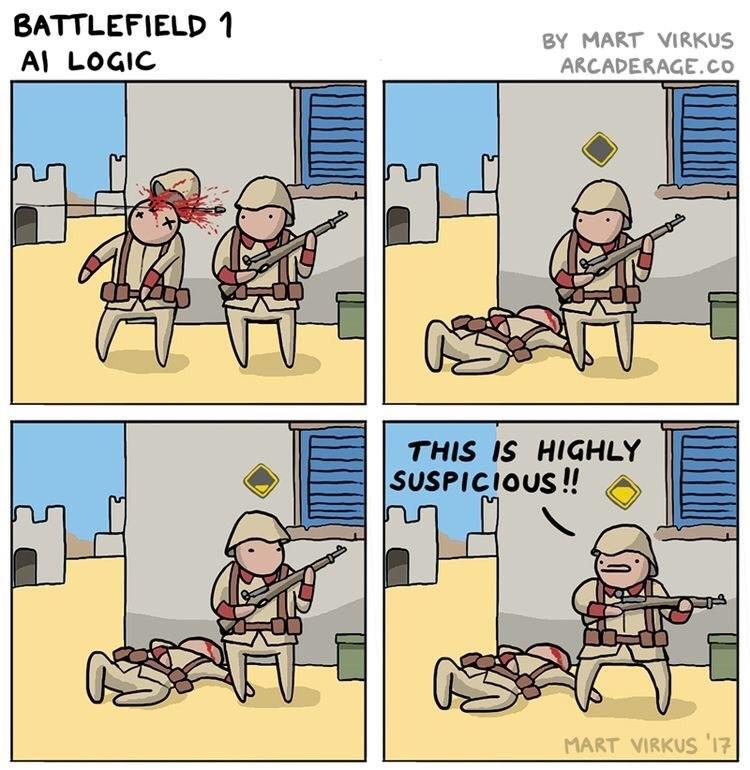 Cartoon - BATTLEFIELD 1 BY MART VIRKUS Al LOGIC ARCADERAGE.co THIS IS HIGHLY SUSPICIOUS!! MART VIRKUS 17