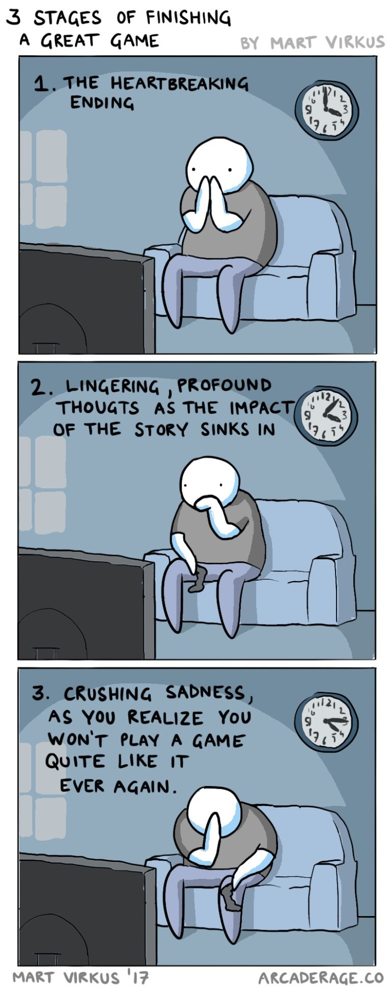 Cartoon - 3 STAGES OF FINISHING A GREAT GAME BY MART VIRKUS 1. THE HEART BREAKING ENDING 2. LINGERING THOUGTS AS THE IMPACT OF THE STORY SINKS IN PROFOUND 12 , ,ל 3. CRUSHING SADNESS AS YOU REALIZE YOU WON'T PLAY A GAME QUITE LIKE IT EVER AGAIN. MART VIRKUS '17 ARCADERAGE.CO