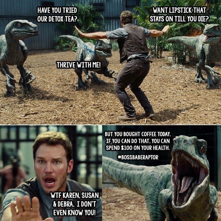 Jurassic Park meme with Chris Pratt and dinosaurs asking him if he's tried their detox tea