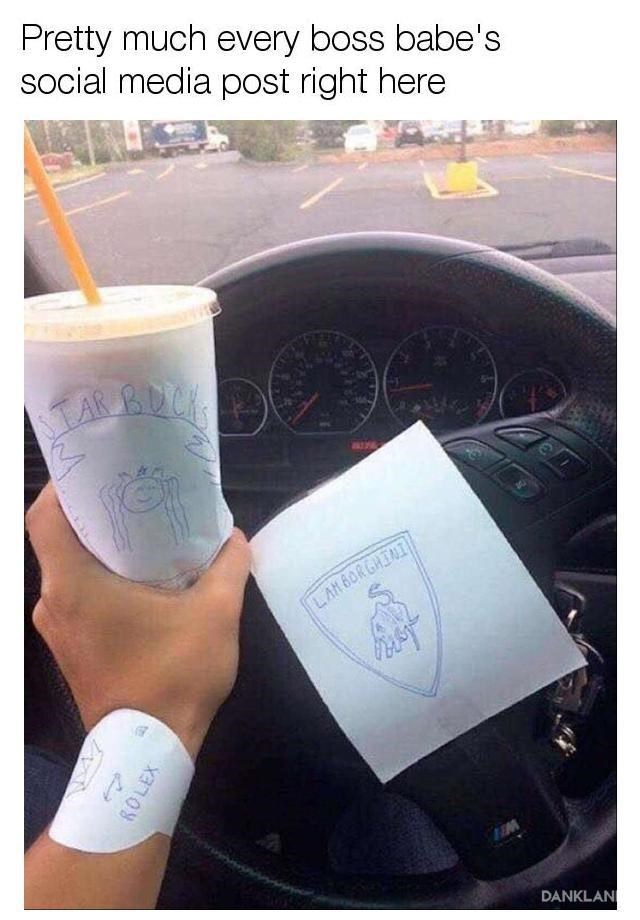 meme putting brand names on pieces of paper and sticking it on things