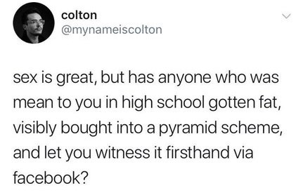 post about seeing your enemies get caught up in a pyramid scheme