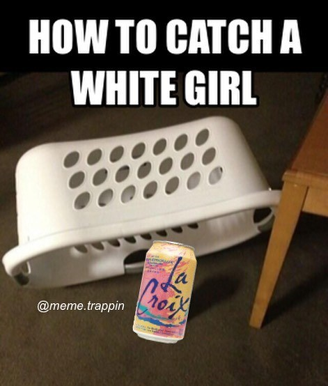 meme of how to cathc a white girl by baiting a trap with can of La Croix