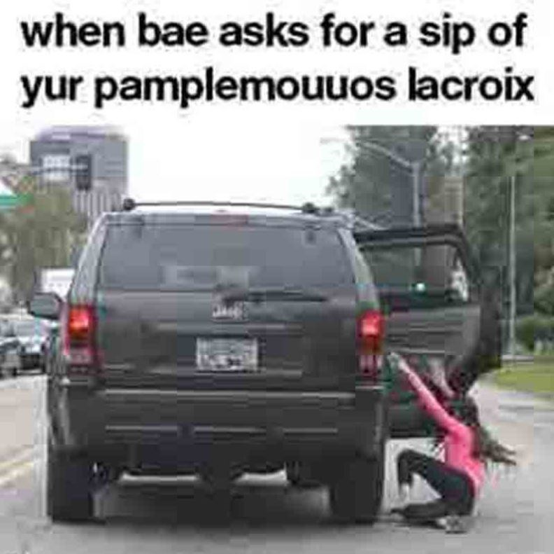 girl being thrown out of moving SUV in meme about La Croix