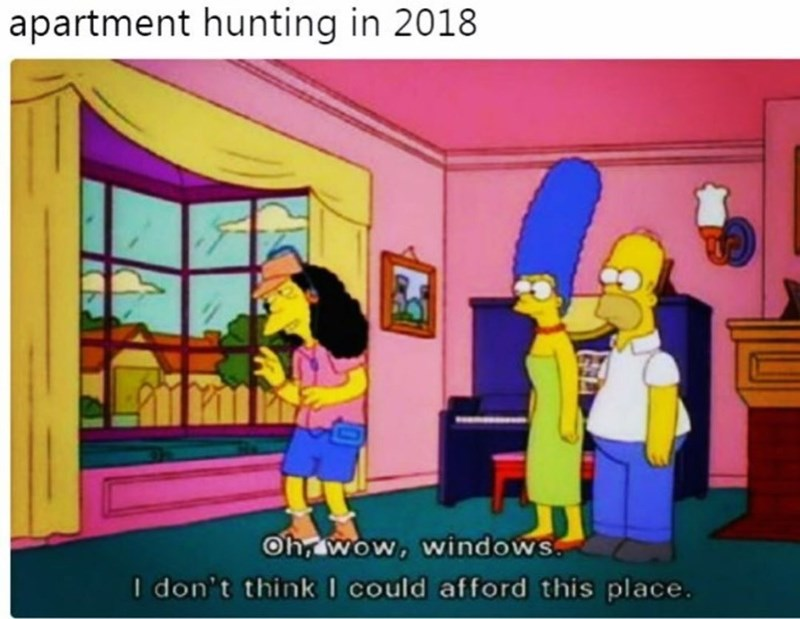 meme about low standards in apartment hunting with pic from The Simpsons