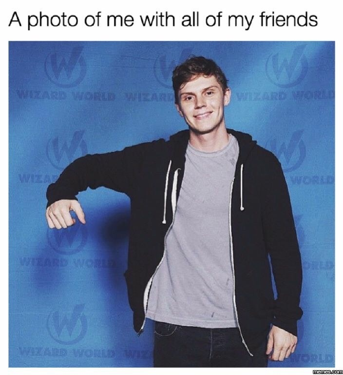 work meme about having no friends at work with Evan Peters hugging the air