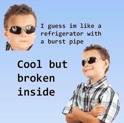 meme about being cool like a broken fridge with pics of a boy in sunglasses