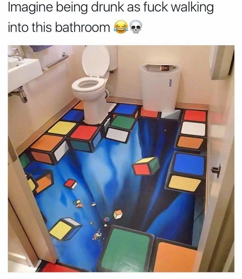 work meme about a bathroom with a trippy floor