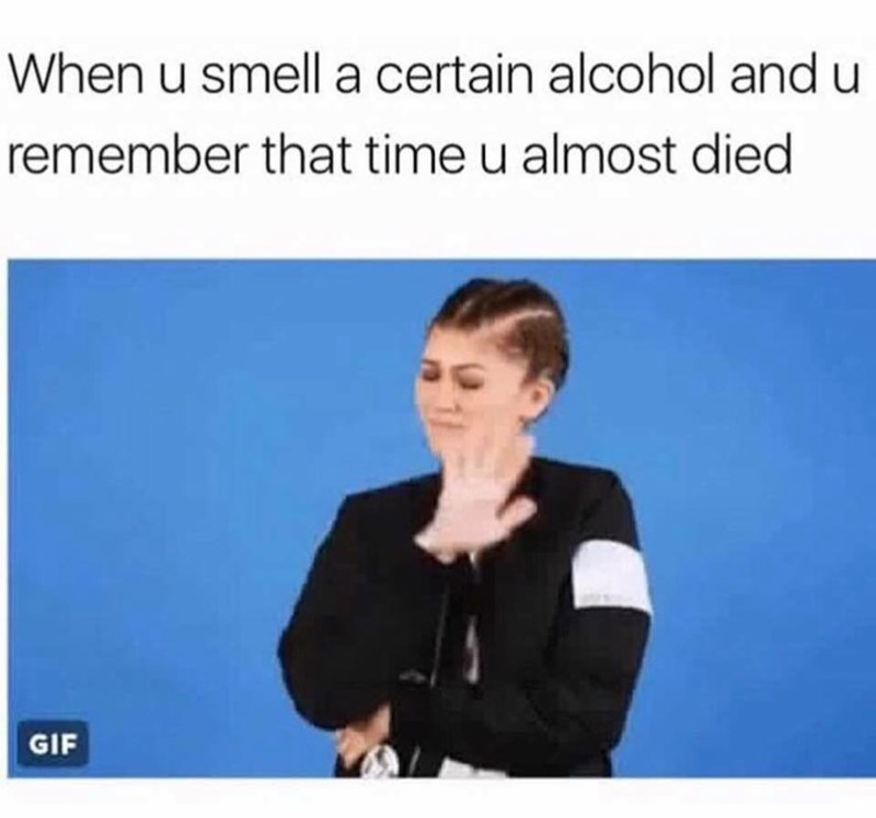 work meme about having flashbacks of getting too drunk with Zendaya looking disgusted