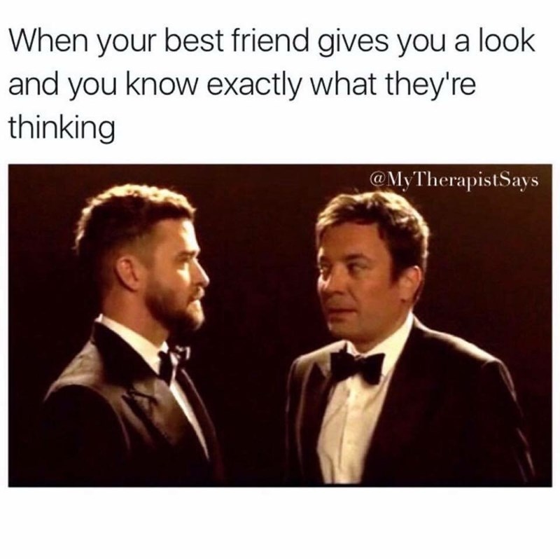 work meme about sharing a look with a friend with Jimmy Fallon and Justin Timberlake
