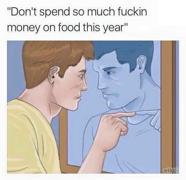 work meme about threatening yourself to stop spending money on food