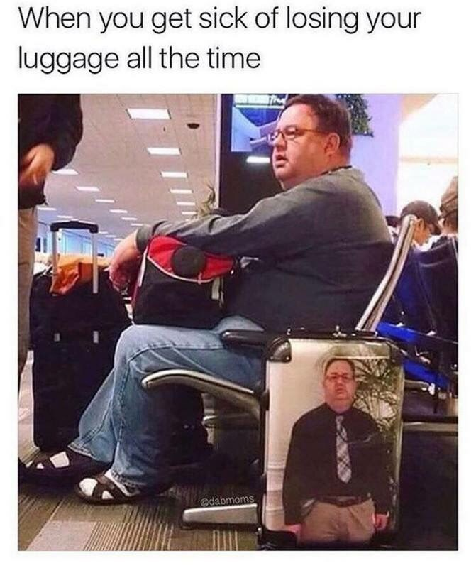 work meme about keeping your luggage by posting a pic of yourself on it