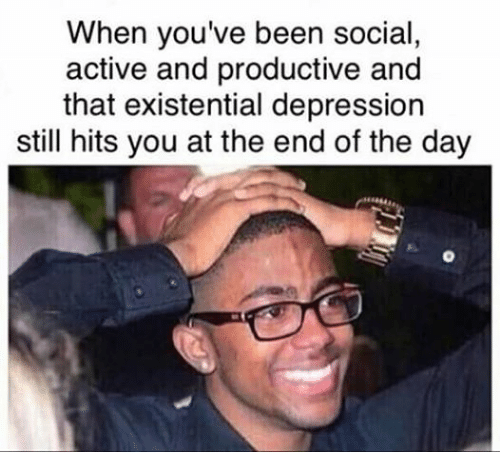 meme about being depressed despite doing you're best with pic of man smiling while holding his head