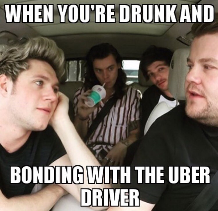 "Pic of One Direction riding in the car with James Corden with the caption, ""When you're drunk and bonding with the Uber driver"""