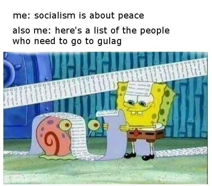 Text - me: socialism is about peace also me: here's a list of the people who need to go to gulag