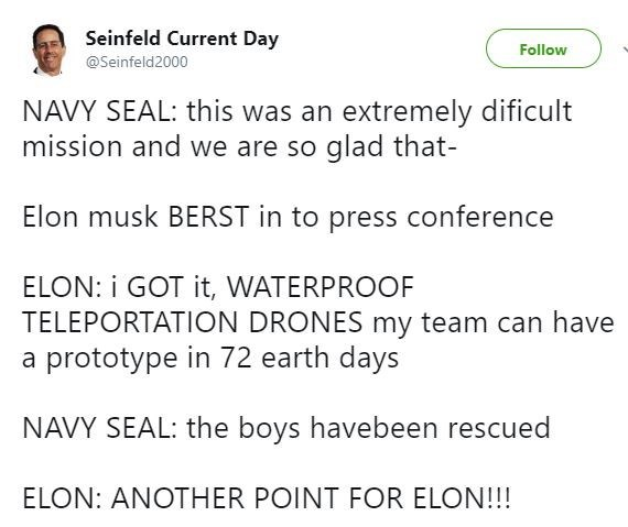 Tweet about how the Navy Seals completed the mission but Musk took credit for himself