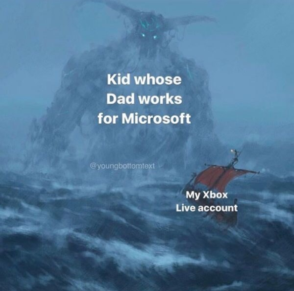 fantasy object labeling meme of kid whose dad works ant microsoft and my xbox live account