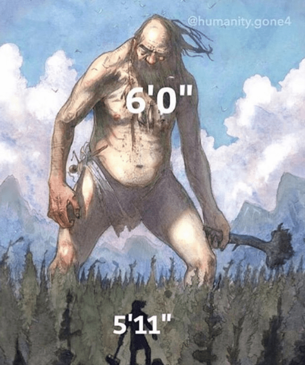 fantasy object labeling meme of being 5 11 vs 6 feet