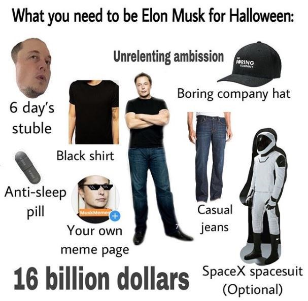 Product - What you need to be Elon Musk for Halloween: Unrelenting ambission ToRING dPANY Boring company hat 6 day's stuble Black shirt Anti-sleep pill Casual MuskMeme jeans Your own meme page 16 billion dollars Spacex spacesuit (Optional)