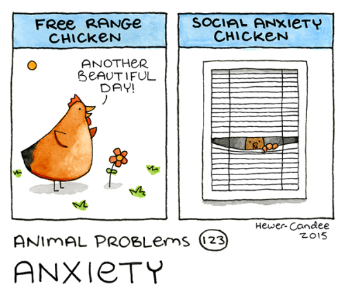 SOCIAL ANXieTY CHICKEN FRee RANGE CHICKEN ANOTHER BEAUTIFUL DAY! Hewer- Candee z015 ANIMAL PROBLEMS (23 ANXIETY