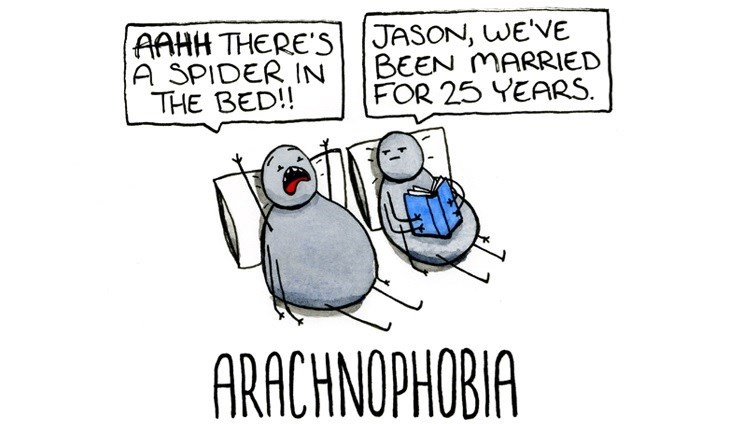 Cartoon - AAHH THERE's JASON, WE'VE A SPIDER IN THE BED!! BEEN MARRIED FOR 25 YEARS ARACHNOPHOBIA