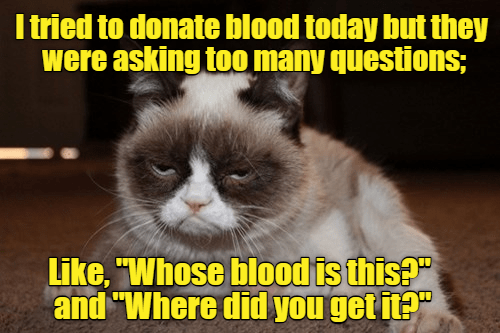 "Cat - I tried to donate blood today but they were asking too many questions; Like, ""Whose blood is this?"" and ""Where did you get it?"