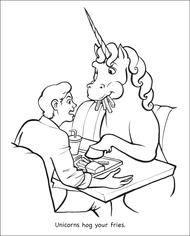 White - Unicorns hog your fries.