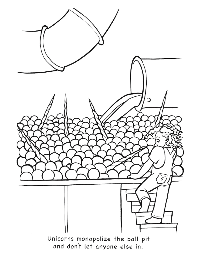 Line art - Unicorns monopolize the ball pit and don't let anyone else in.