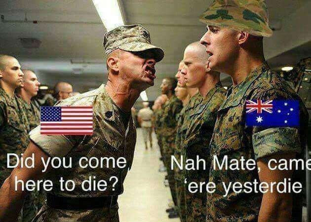 Military uniform - Nah Mate, came ere yesterdie Did you come, here to die?