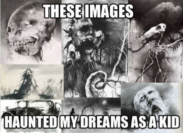 "Creepy 'Scary Stories' images with the caption, ""These images haunted my dreams as a kid"""