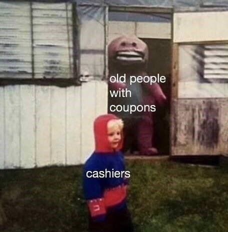 """Creepy Barney the Dinosaur labeled """"old people with coupons"""" staring creepily at a small unsuspecting child labeled """"cashiers"""""""