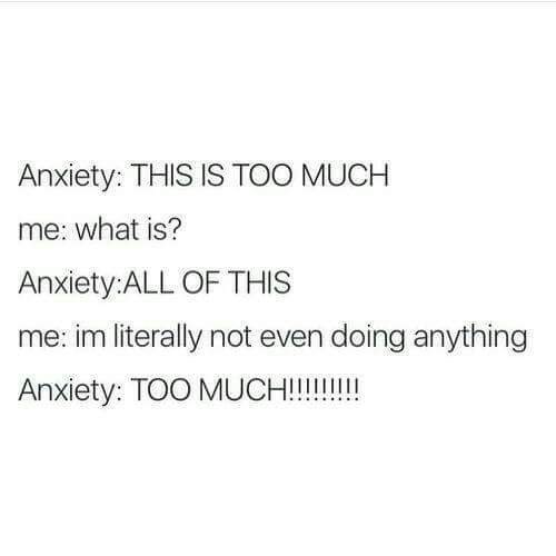 Text - Anxiety: THIS IS TOO MUCH me: what is? Anxiety:ALL OF THIS me: im literally not even doing anything Anxiety: TOO MUCH!!!!!