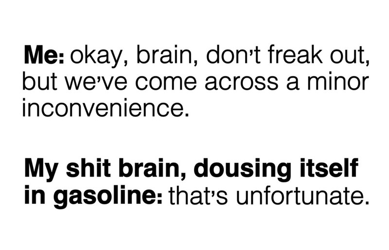 Text - Me: okay, brain, don't freak out, but we've come across a minor inconvenience. My shit brain, dousing itself in gasoline: that's unfortunate.