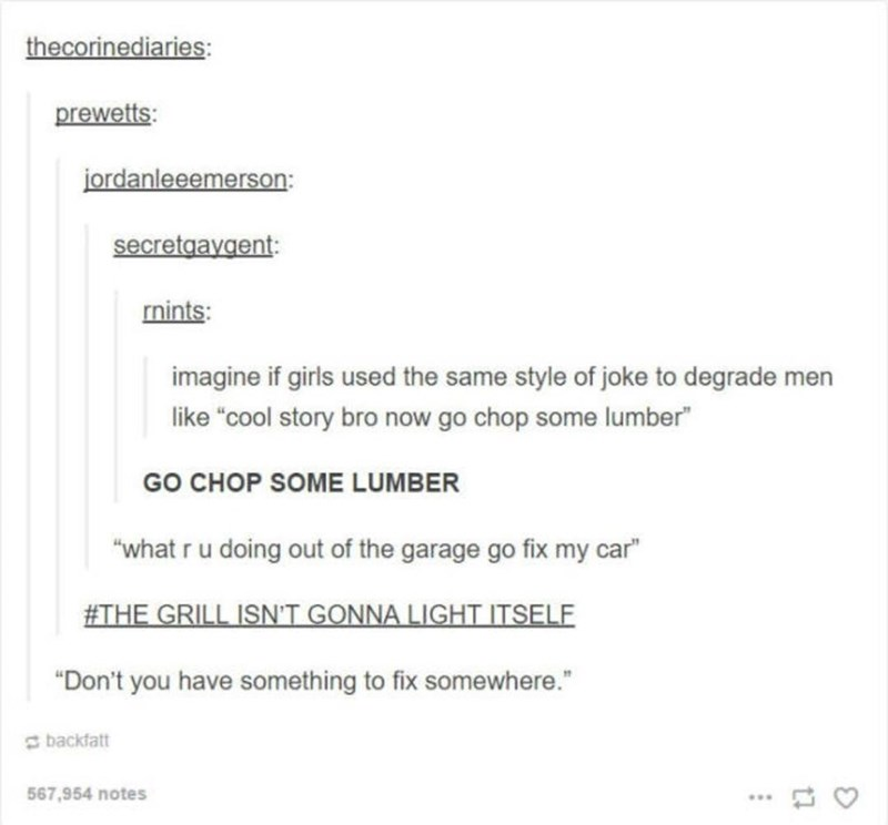 """Text - thecorinediaries: prewetts: jordanleeemerson: secretgayaent mints: imagine if girls used the same style of joke to degrade men like """"cool story bro now go chop some lumber"""" GO CHOP SOME LUMBER """"what r u doing out of the garage go fix my car"""" #THE GRILL ISN'T GONNA LIGHT ITSELF """"Don't you have something to fix somewhere."""" backfatt 567,954 notes"""