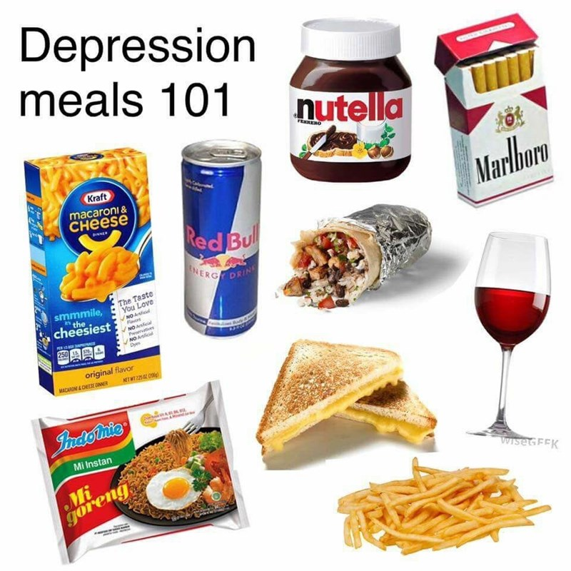 Food group - Depression meals 101 nutella FEXRERO Kraft macaroni & Marlboro снеese DINNER Red Bul NERG DRIN The Taste You Love smmmile, the cheesiest NO Arial Favors NO Articial Prservatives NO Artficial Dyes PER3 250 original flavor NETWT252 MACARONI&CHEESE CNER ARKu Jadonic Mi Instan Mi goreng Wise FEK