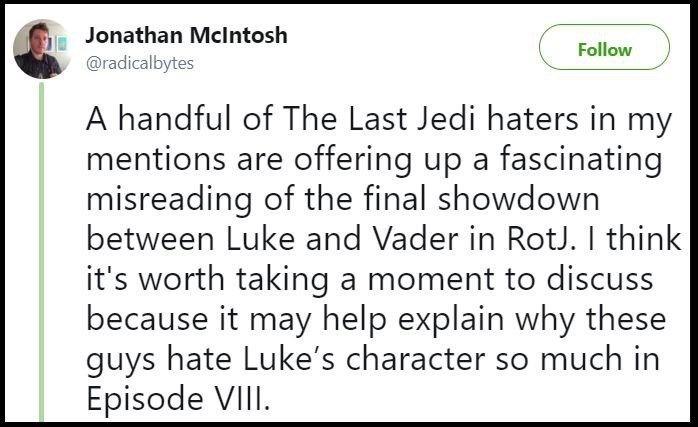 Original tweet telling people that they are misreading The Last Jedi