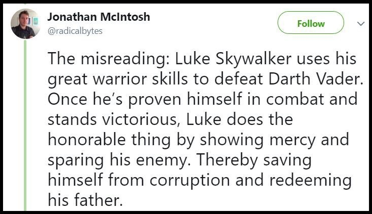 Luke shows mercy to his father after defeating him