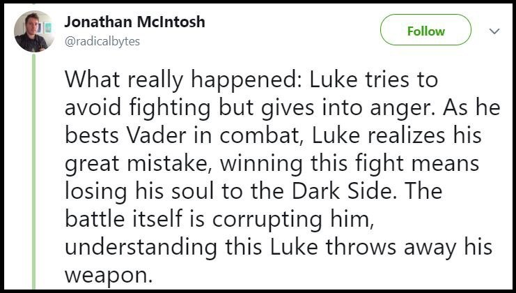 What really happened: Luke tries to avoid fighting but gives in to anger because he doesn't want to lose his soul to the Dark Side