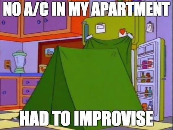 Cartoon - NO A/C IN MY APARTMENT HAD TO IMPROVISE