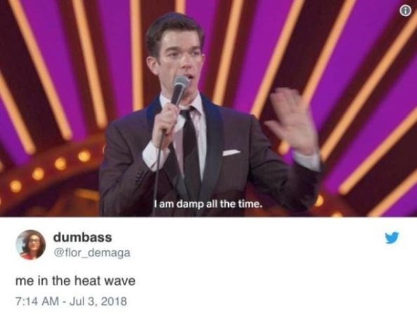 Entertainment - Iam damp all the time. dumbass @flor_demaga me in the heat wave 7:14 AM - Jul 3, 2018